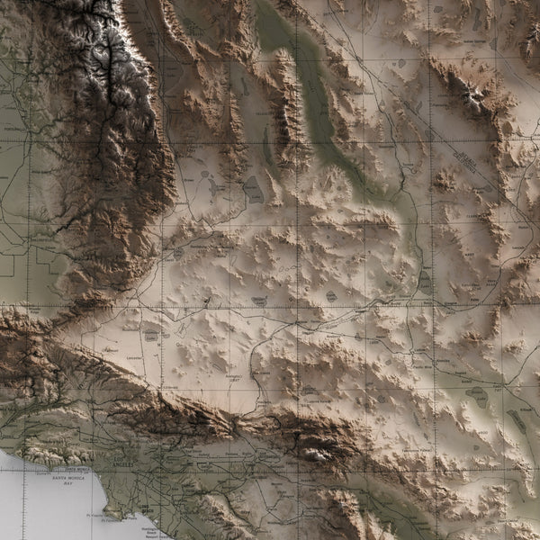 Southern California and Surrounding Region - Vintage Relief Map