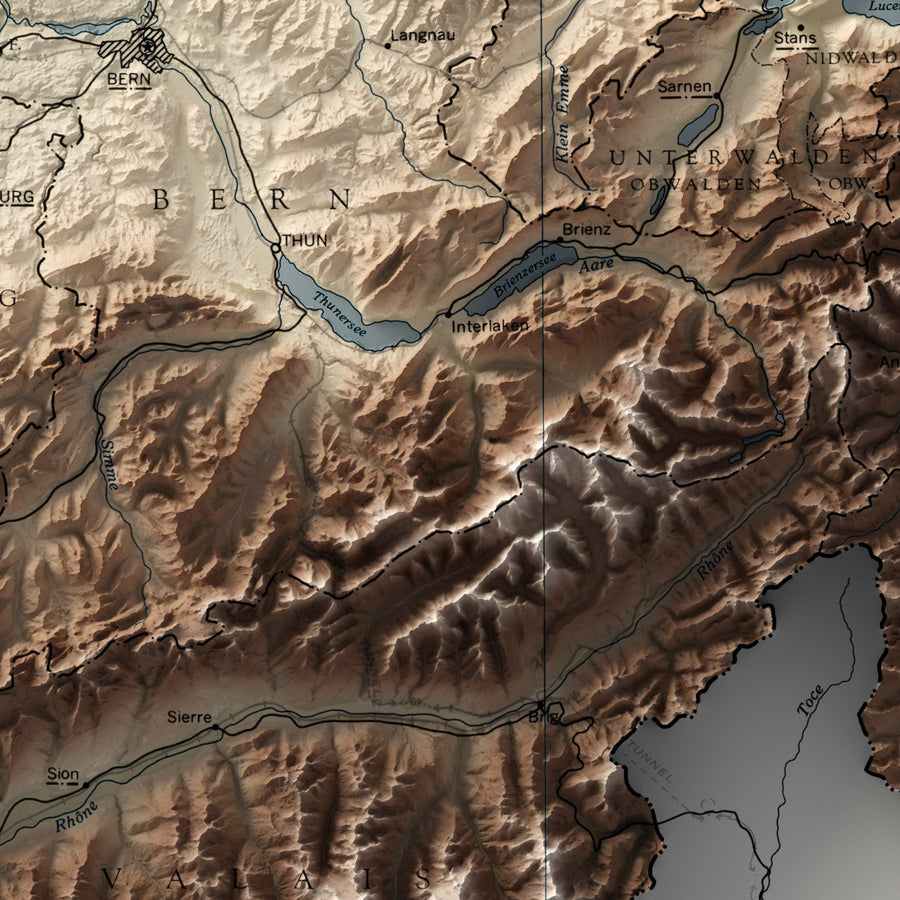 Switzerland - Vintage Relief Map (1955)
