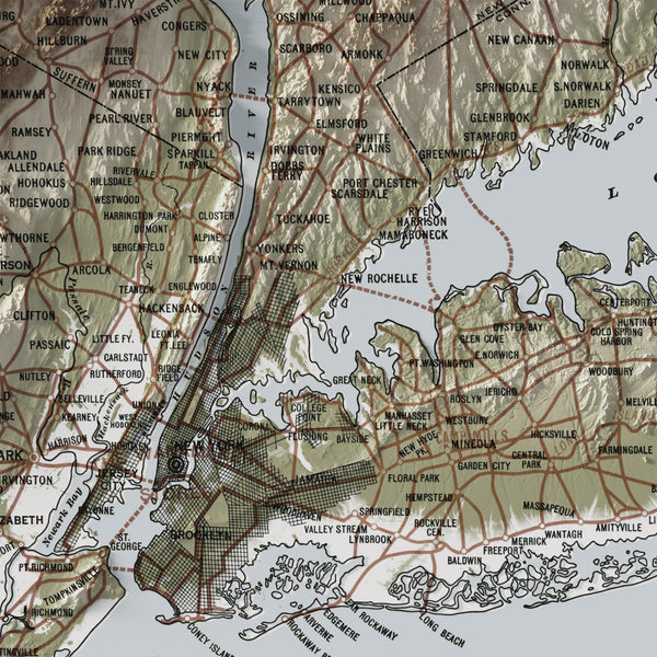 New York and Vicinity - Vintage Relief Map