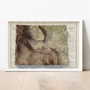 Wyoming - Vintage Relief Map (1901)