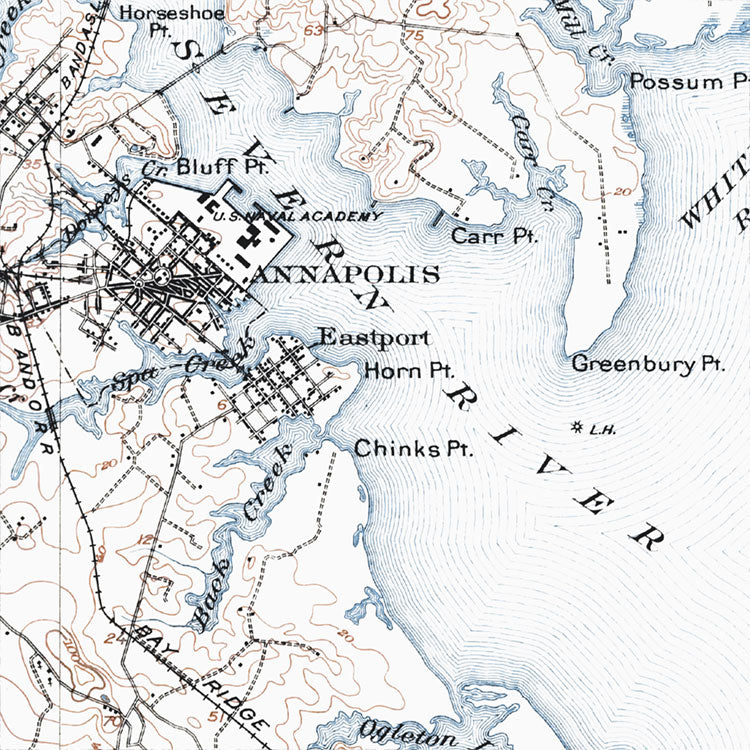 Annapolis, MD - 1907 Topographic Map