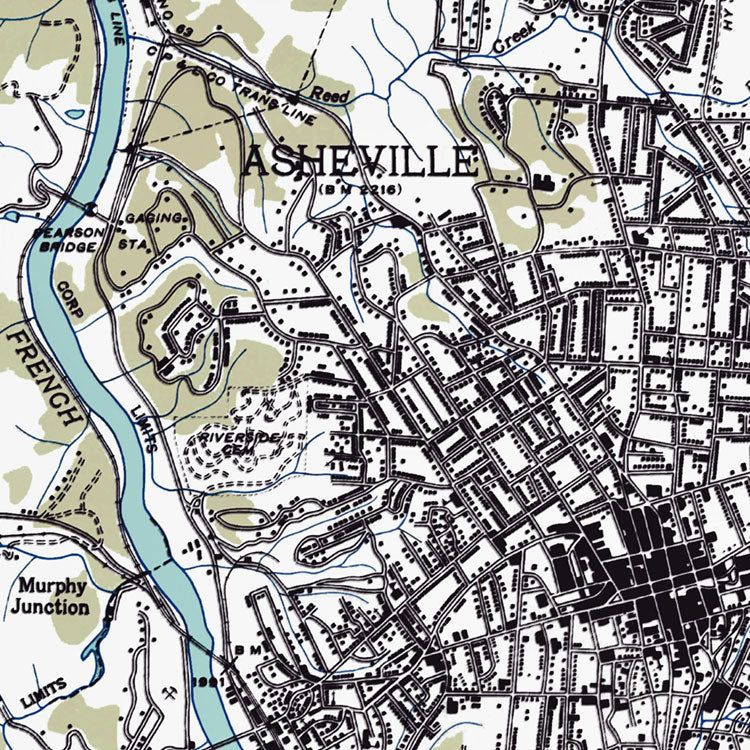 Asheville, NC - 1936 Physical Map