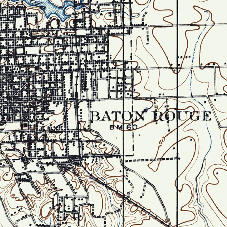Baton Rouge, LA - 1908 Topographic Map