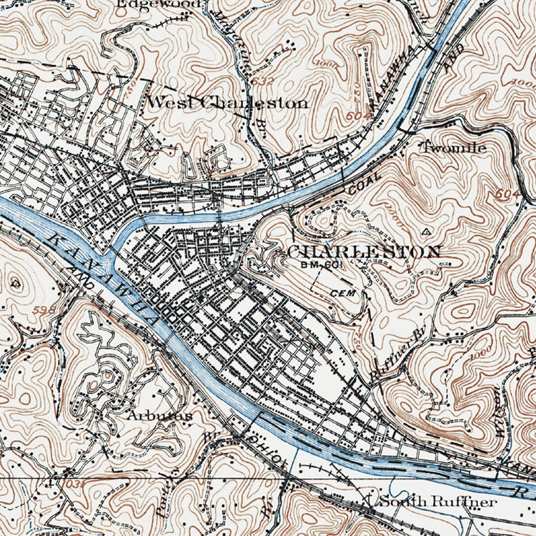 Charleston, WV - 1909 Topographic Map