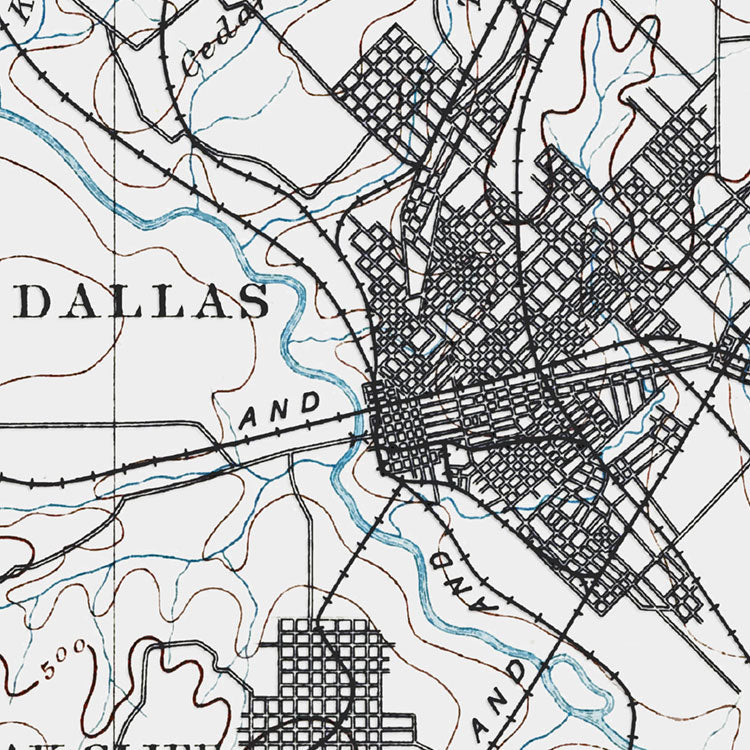 Dallas, TX - 1893 Topographic Map