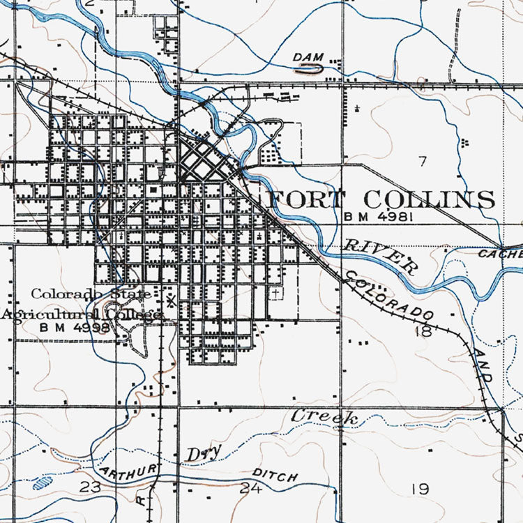 Fort Collins, CO - 1906 Topographic Map