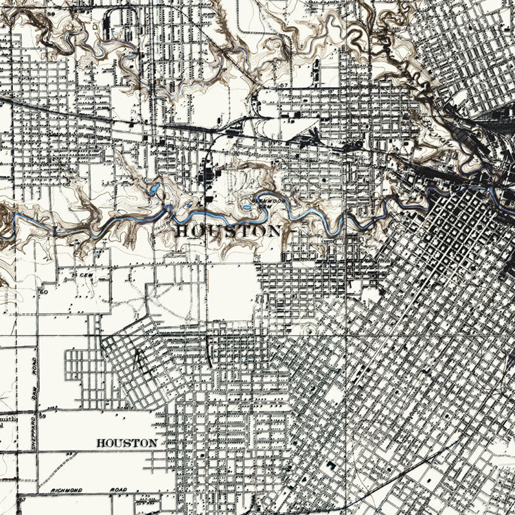 Houston, TX - 1922 Topographic Map