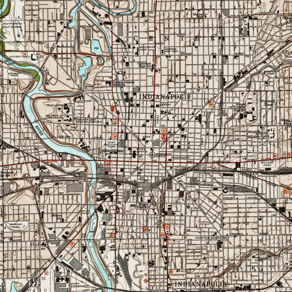 Indianapolis, IN - 1948 Topographic Map