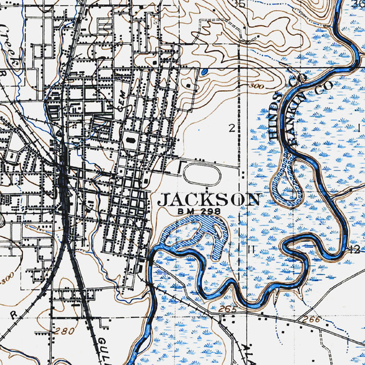 Jackson, MS - 1908 Topographic Map