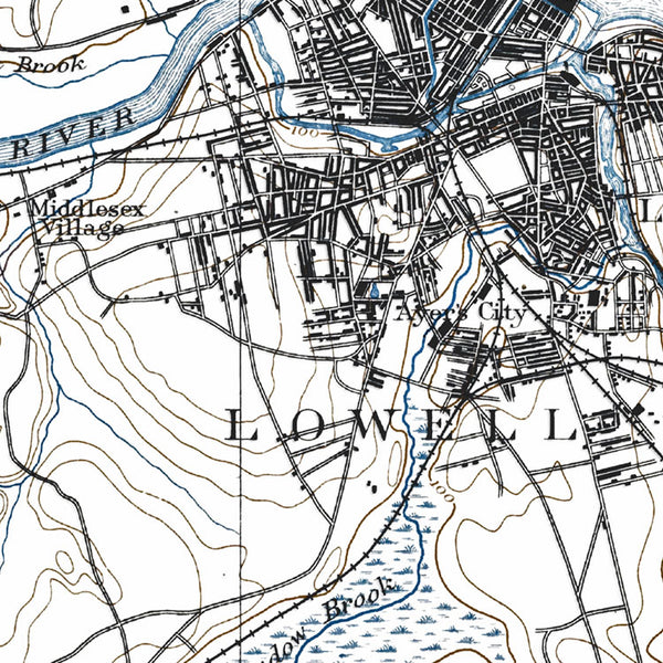 Lowell, MA - 1893 Topographic Map