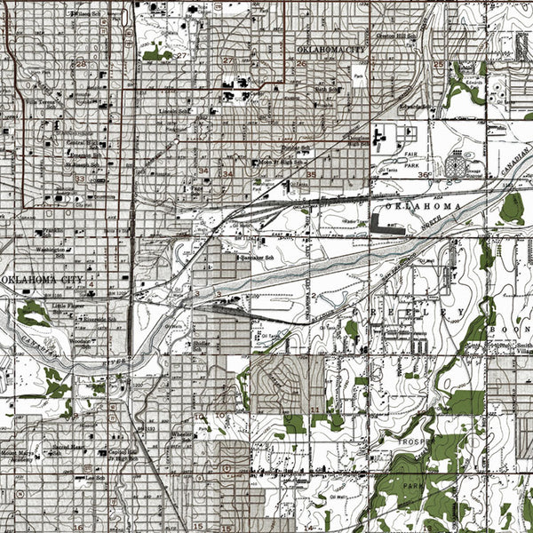 Oklahoma City, OK - 1956 Topographic Map