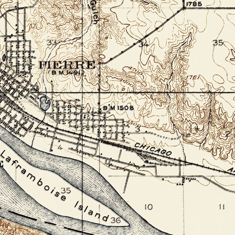 Pierre, SD - 1924 Topographic Map