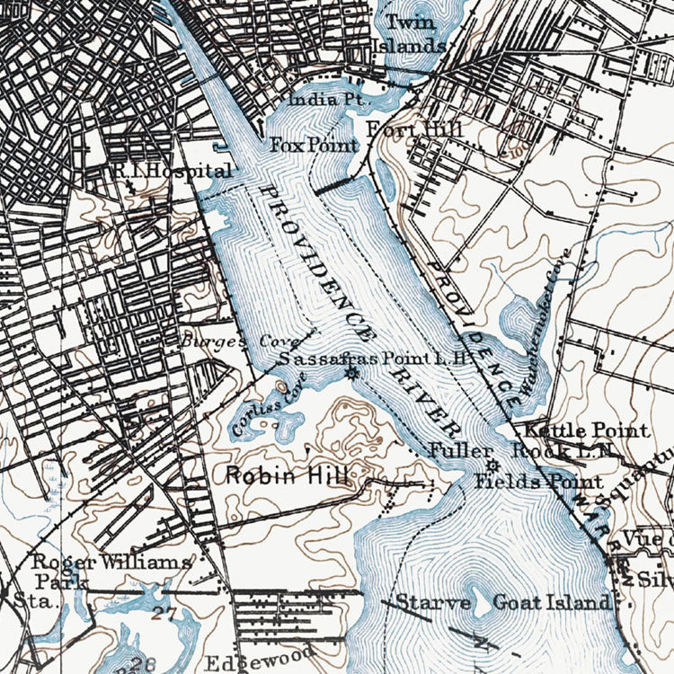 Providence, RI - 1894 Topographic Map