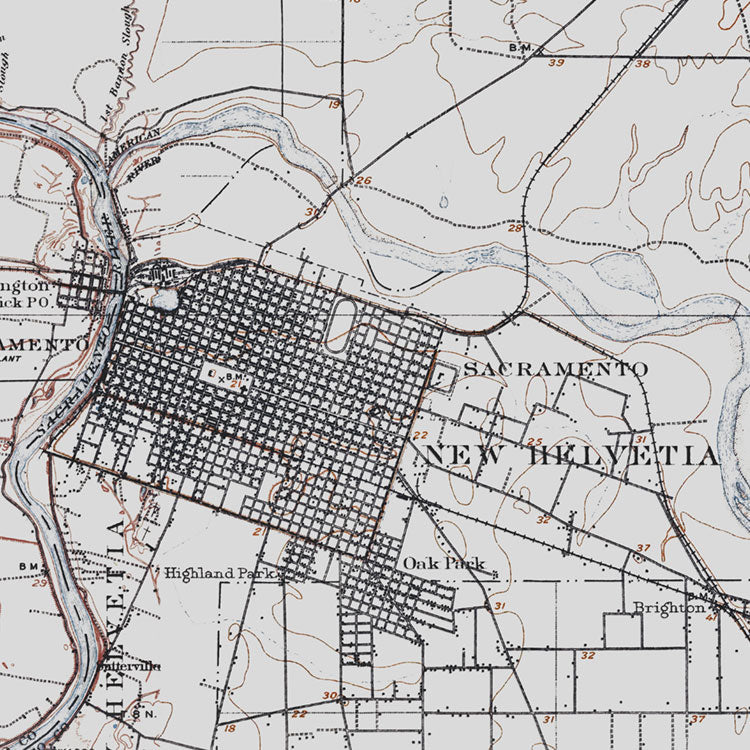 Sacramento, CA - 1907 Topographic Map