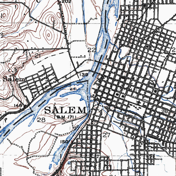 Salem, OR - 1917 Topographic Map