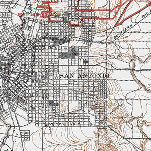 San Antonio, TX - 1918 Topographic Map
