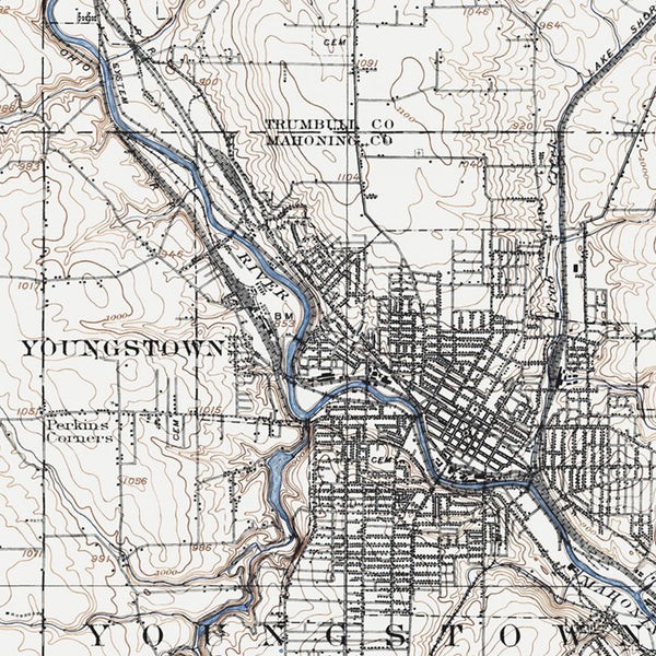 Youngstown, OH - 1908 Topographic Map