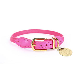 Stevie Rolled Napa Leather Dog Collar - Pink