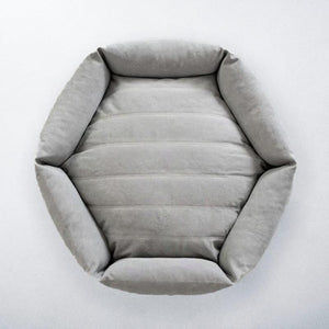 Canvas Hex Dog Bed - Stone