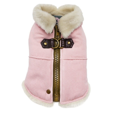 Furry Runner Dog Coat - Pink