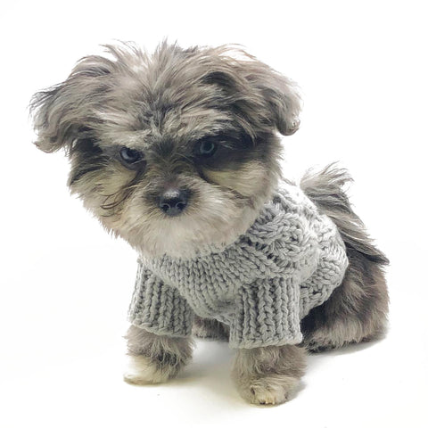 Mia Cable Knit Dog Sweater - Grey
