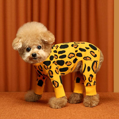 Animal Print Dog Onesie - Yellow