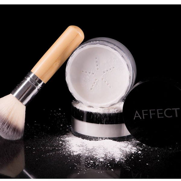 loose rice powder with makeup brush affect cosmetics
