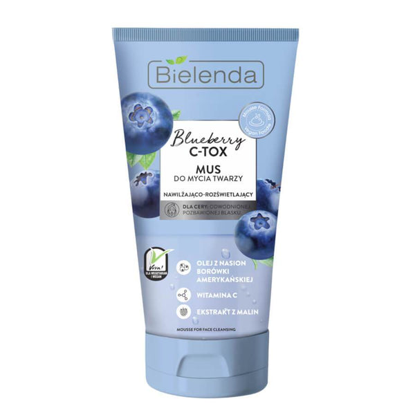 bielenda blueberyy c tox moisturizing illiminating face cleansing mousse vegan 135g