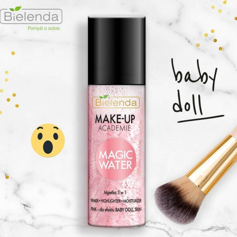 bielenda makeup academie magic water shimmer mist primer pink