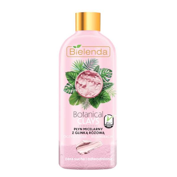 bielenda botanical clays vegan micellar liquid with pink clai for dry skin 500ml