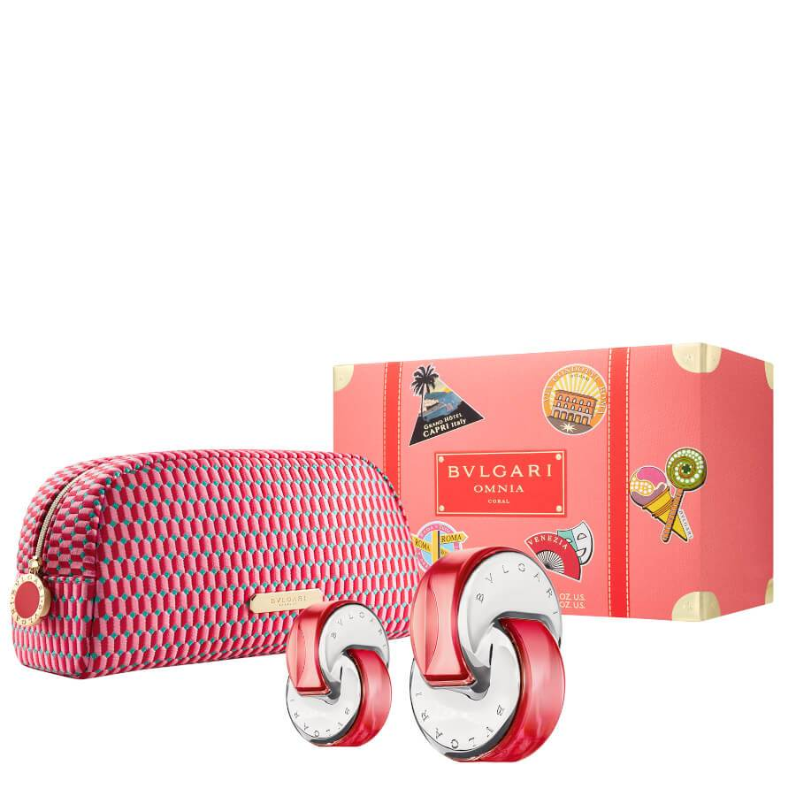 Bvlgari Omnia Coral Gift Set EDT 65ml + Mini EDT 15ml & Pouch