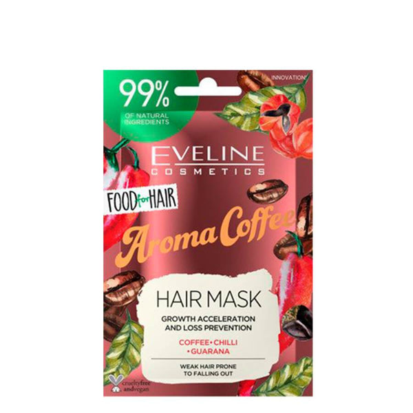 eveline cosmetics hair mask food for hair aroma coffee travel size 20ml