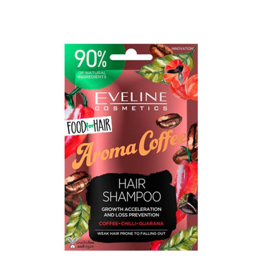 eveline cosmetics aroma coffee food for hair shampoo 20ml travel size for weak hair