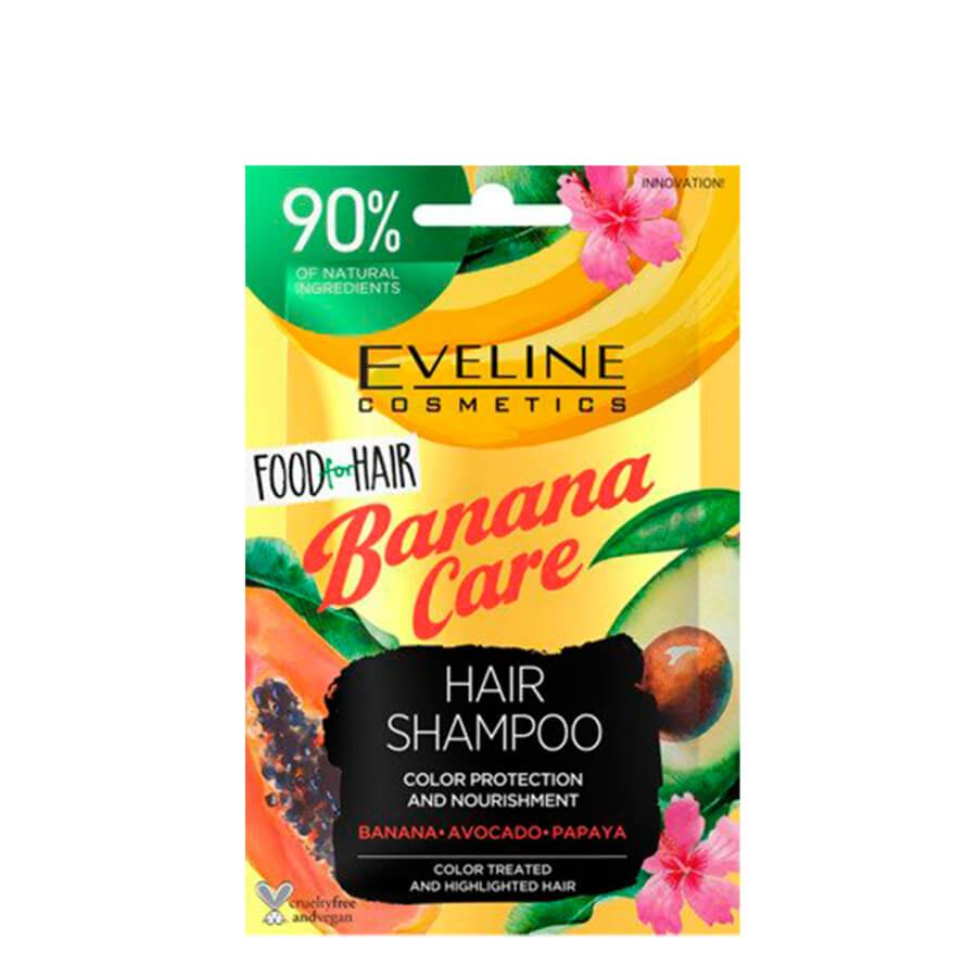 eveline cosmetics food for hair banana care nourising shampoo travel size 20ml