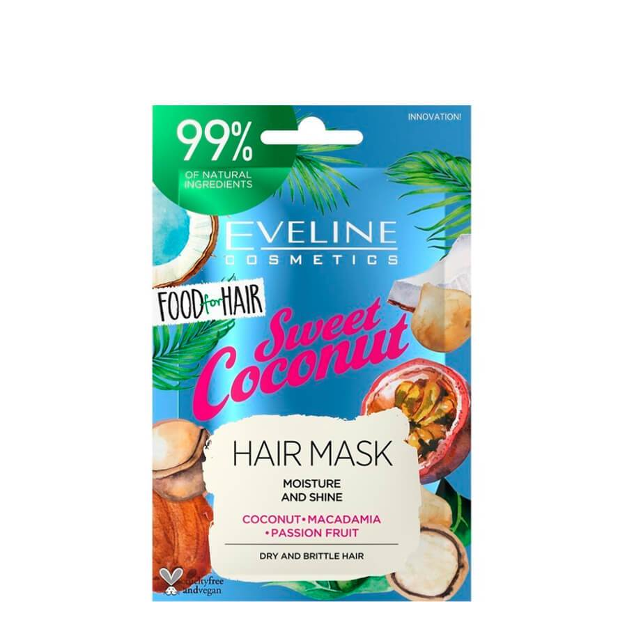 eveline cosmetics hair mask sweet coconut 100ml foof for hair vegan