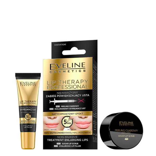 Eveline Lip Enlarging Treatment Duo Set Scrub Hyaluronic Filler Balm lotion gloss enlarging enlarge lips