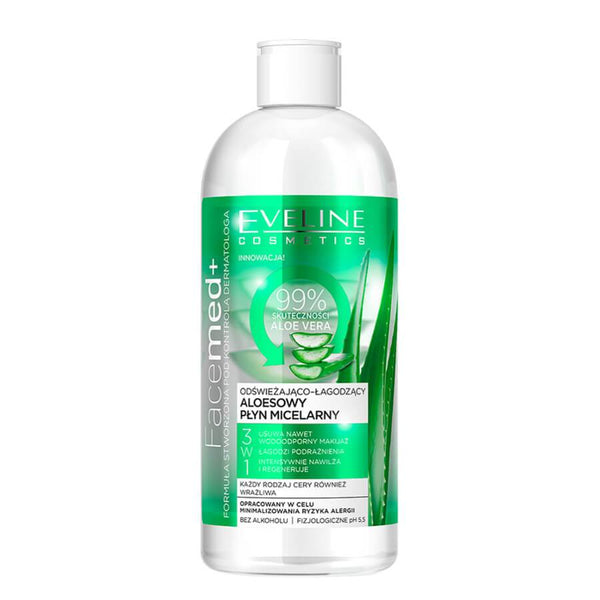eveline cosmetics facemed 3in1 aloe micellar liquid and makeup remover 400ml