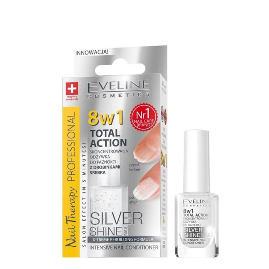 8in1 eveline conditioner total repair silver shine glitter base coat top coat brittle nails rescue