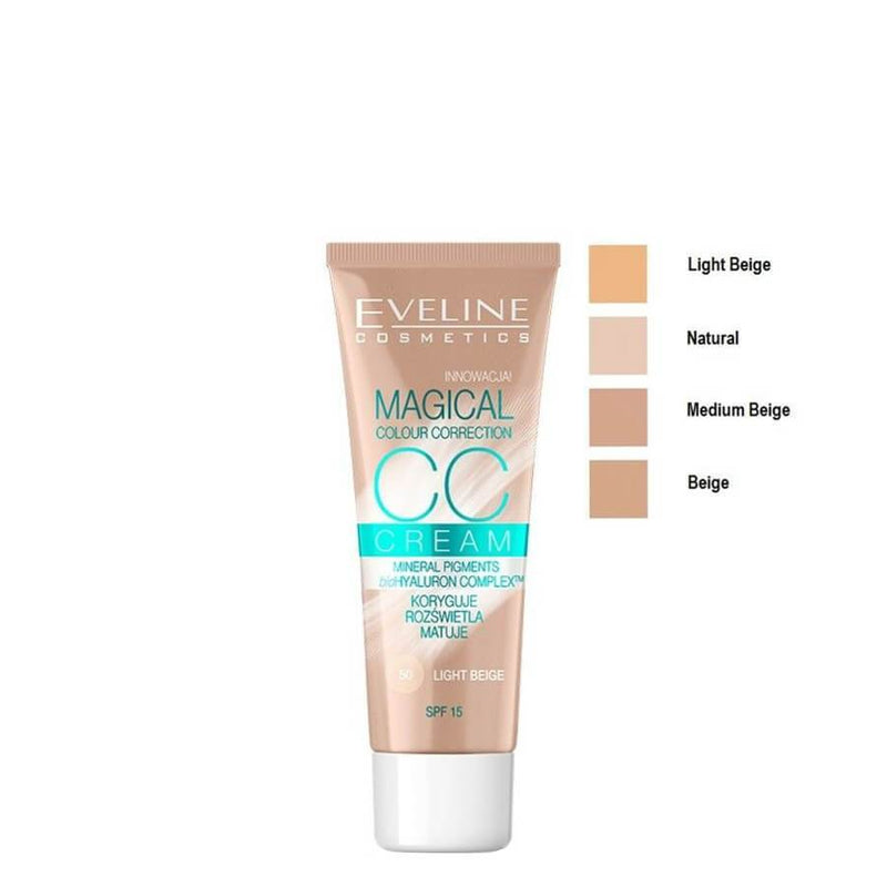 eveline magical cc cream all shades swatch