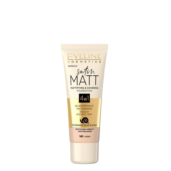 eveline cosmetics satin matt 4in1 foundation 101 ivory
