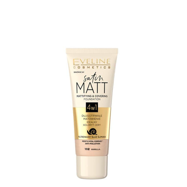 eveline cosmetics satin matt 4in1 foundation 102 vanilla