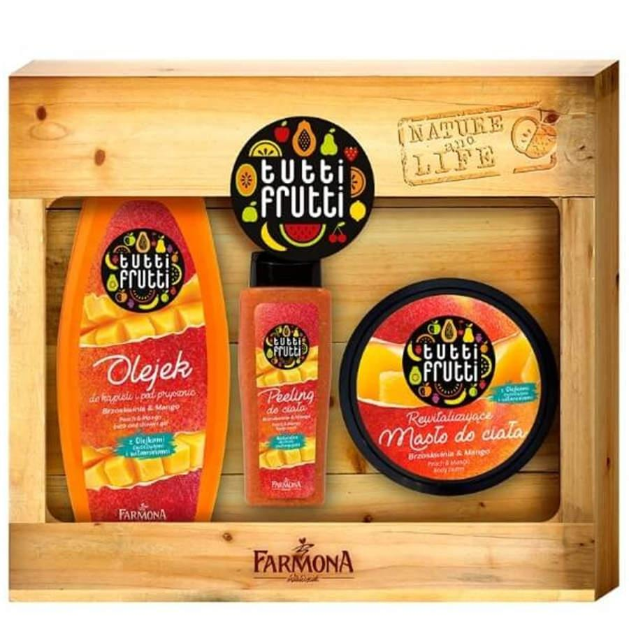 Farmona Gift Set Peach and Mango Shower Gel Body Butter Scrub
