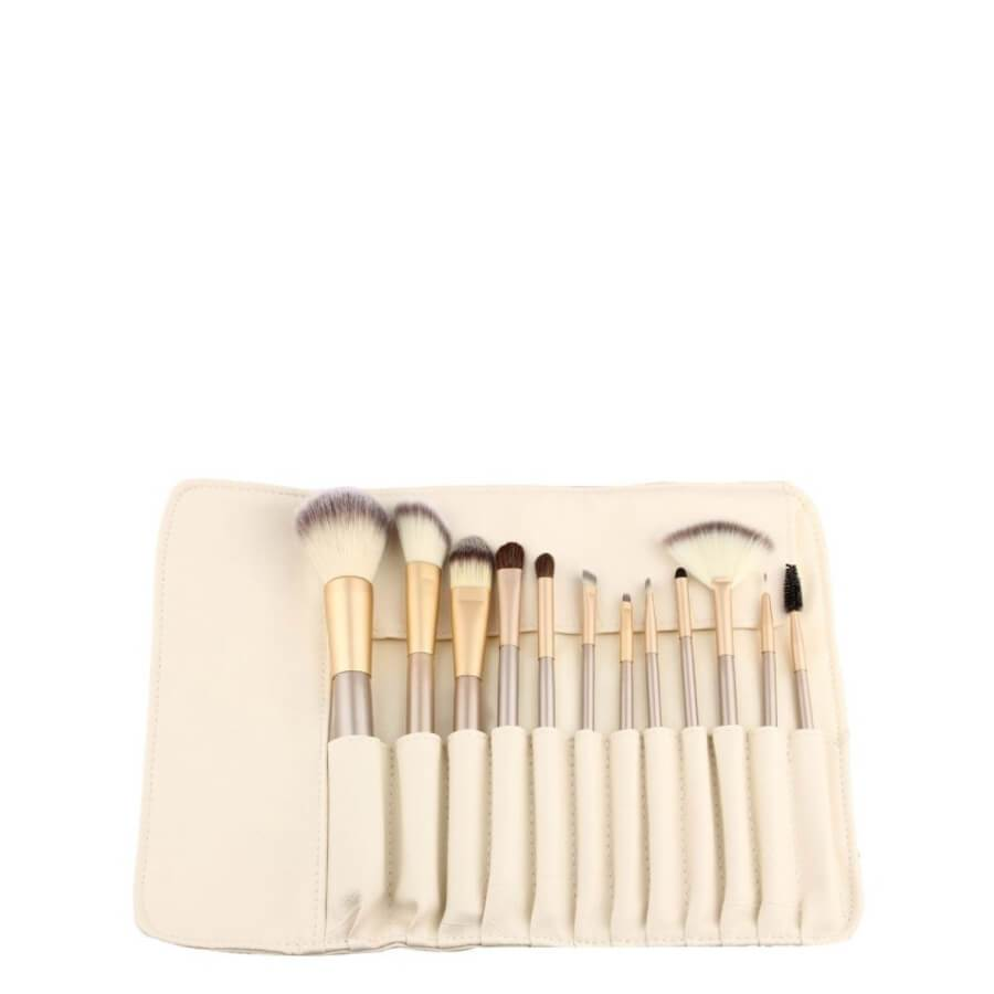 Lelani Makeup Brushes Set Silver with Case 12pcs