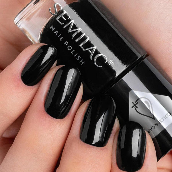 Semilac Color & Care Nail Polish C197 Black nail design on nails