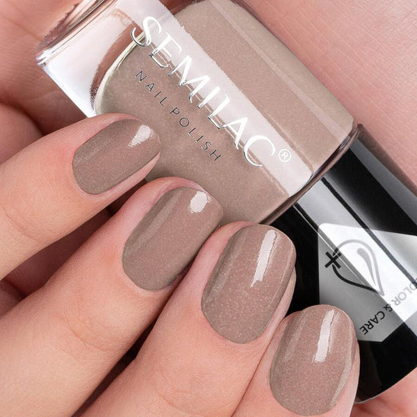 Semilac Color & Care Nail Polish C229 Brown nail design on nails
