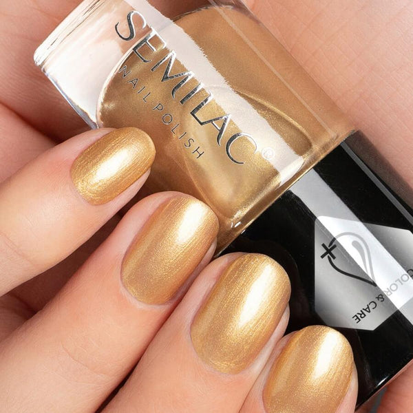 Semilac Color & Care Nail Polish C236 Gold nail design on nails