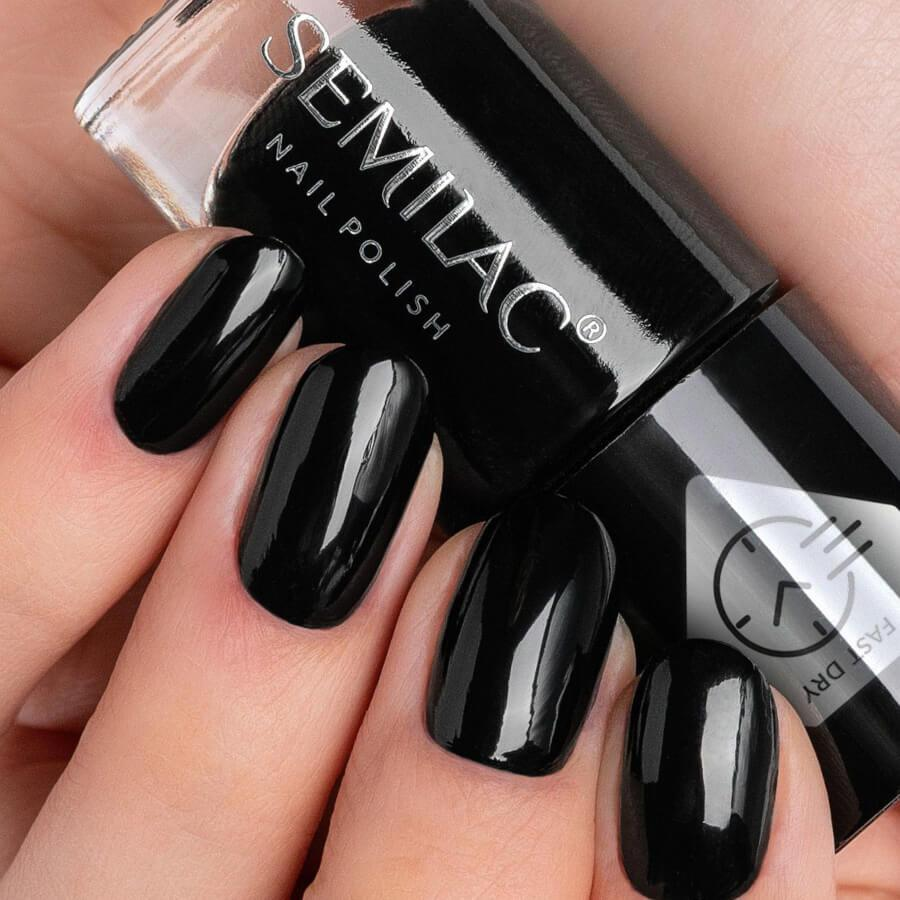 Semilac Fast Dry Nail Polish C195 Black 7ml
