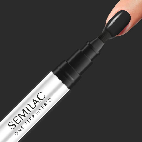 Semilac One Step Hybrid Pen Gel Polish S190 Black nail design on nails