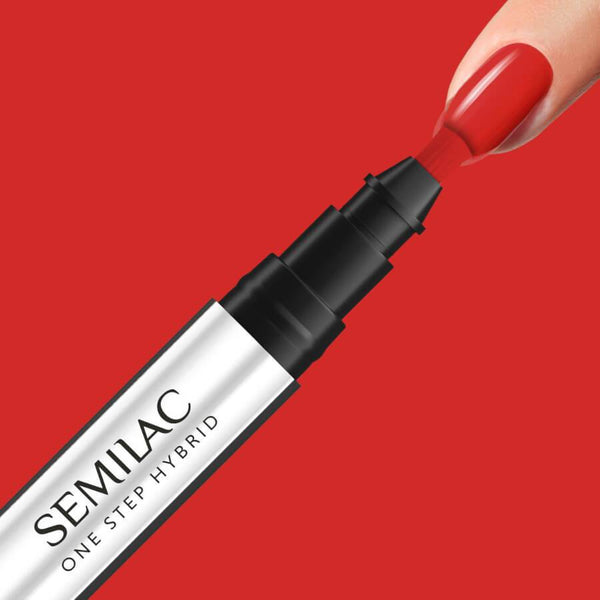 Semilac One Step Hybrid Pen Gel Polish S530 Scarlet nail design on nails