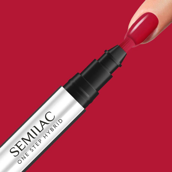 Semilac One Step Hybrid Pen Gel Polish S550 Pure Red nail design on nails